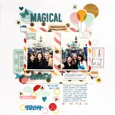 Magical - Scrapbook.com - Use non traditional Disney colors to coordinate with your photos.