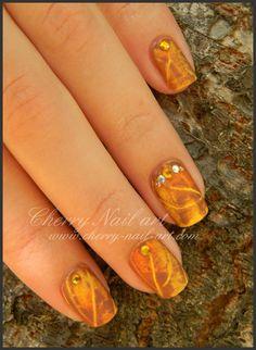 nail art automne feuille morte facile rapide sans pinceau Cherry Nail Art, Art Nails, Fashion Art, Brush Pen, Nail Arts