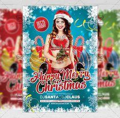 Happy Merry Christmas - Seasonal A5 Flyer Template  #exclusiveflyer #psd #freeflyer #freepsd #merrychristmas #christmascelebration #santaclause #dinnerwithsanta #badsanta #sexysanta #snow #winter