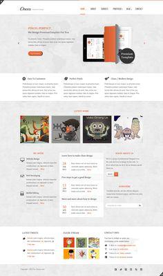 web-design website site simple theme wordpress template clean minimal orange accents | source: http://themeforest.net/item/onces-modern-and-clean-responsive-xhtml-template/2906069?wt.ac=portfolio_1=portfolio_author=ahmedchan?ref=creattica