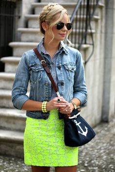 Denim jacket, gingham shirt, bright flower skirt, anchor purse- great variety of textures-BowsandDepos