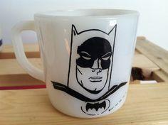 vintage 1960 Westfield rare Batman milk glass mug