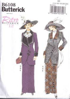 Butterick-Sew-Pattern-6108-Edwardian-Titanic-1912-Costume-Skirt-Jacket-14-22