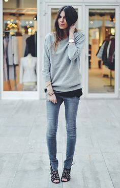 Make a neutral outfit interesting by layering and adding a pair of statement shoes.