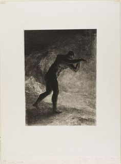 """Odilon Redon - And Man Appeared; Questioning the Earth From Which He Emerged and Which Attracted Him, He Made His Way Toward Somber Brightness, plate 8 of 8 from """"Les Origines"""", 1883. Lithograph in black on light gray China paper."""