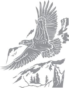 Glass etching stencil of Bald Eagle over Mountain. In category: Birds of Prey