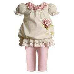 Bonnie jean ivory and pink rosette legging set size 18 months