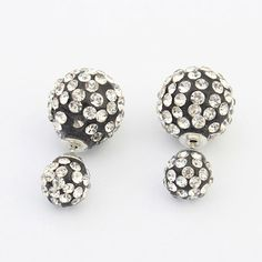 Chiropract White & Black Diamond Decorated Round Shape Design Alloy Stud Earrings http://www.asujewelry.com