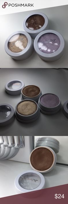 """ColourPop Lot of 3 Super Shock Cheeks Bronzer: """"KaePop Bronze Me"""" Purple-Hue Highlighter: """" Hippo"""" Golden Highlighter: """"Wisp"""" (VERY POPULAR!)  Clearly, these are all gently used, use shown in pictures. They have been used as sanitary as possible. Colourpop Makeup Luminizer"""