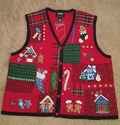 Women's Ugly Christmas sweater gingerbread snowman red green candy bells XL