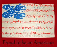 Handprint & Fingerprint American Flag {4th of July craft for kids}