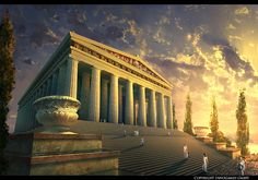"This is The Temple of Artemis. I've done it for the ""grepolis"" from ""InnoGames"". The Temple of Artemis Greek Mythology Tattoos, Greek Mythology Art, Roman Mythology, Greek Buildings, Zeus Statue, Mount Olympus, Ancient Greek Architecture, Greek History, Art History"