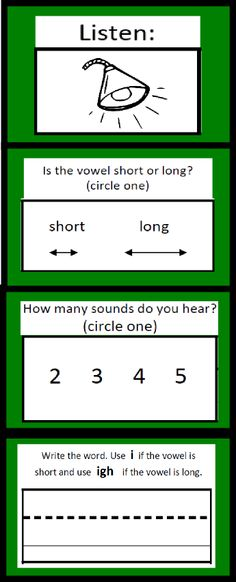 Free Listen and Write Long Vowel Patterns Worksheet. Students choose whether the sound is long or short, how many sounds they hear and then write the word according to the rule provided above.