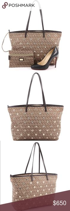 Fendi Zucca Grommet Tote Authentic Fendi Grommet Roll Tote Large - Brown Fendi Zucca Canvas, Leather Trim, Goldtone Hardware, Red Lining. Includes detachable pouch - These are pictures of actual item - Code Reads 2305/8BH185/BPA/099, CA0995557 *Shoe is for sizing reference. **Available 2/16/17** Fendi Bags Totes