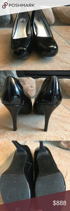 Mossimo Supply Co. Patent Black Heels NWOT Mossimo Supply Co. Patent Black Heels NWOT. Sticker residue on inside sole. No box. Squared toe. Light wear from trying on. Mossimo Supply Co Shoes Heels