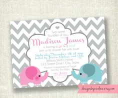 Chevron Twin Babies Boy and Girl Elephant - Baby Shower PRINTABLE Invitations