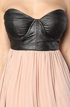 Strapless Leather Look Bustier Maxi Dress