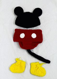 Mickey Mouse Baby Costume, Hat, Diaper Cover, Booties Crochet Disney S | CutieHats - Accessories on ArtFire
