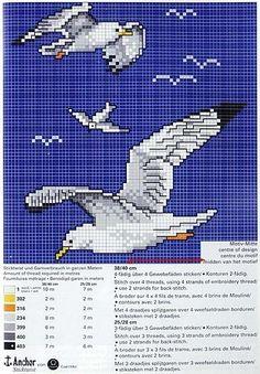 Schema punto croce Gabbiani