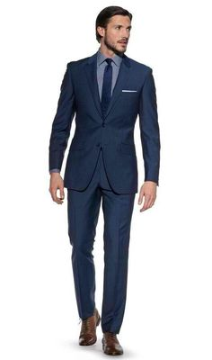 Kensington Blue Italian Wool 3 Piece Slim Fit Suit | Suits