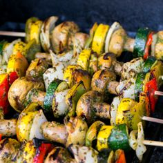 Grilled Moroccan veggie skewers:The tangy herb marinade tenderizes the veggies to make them uber juicy!