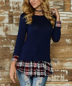 Another great find on #zulily! Navy Plaid Layered Tunic #zulilyfinds