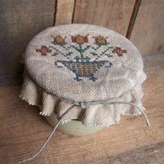 Mini Cross Stitched Flower in Pot Crock by TeresasPrimTreasures, $24.00
