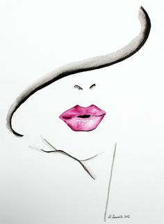Original Fashion and Beauty Illustration of womans lips by Helen Simms.