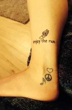 My new running tattoo. I think it goes well with the little tattoo I've had on my foot for years because I find peace and love from running with music. ❤️