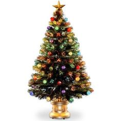 48 inch Fiber Optic Fireworks Tree with Ball Ornaments, Green