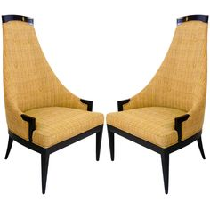 Pair of Sculptural High Back Chairs | From a unique collection of antique and modern chairs at https://www.1stdibs.com/furniture/seating/chairs/