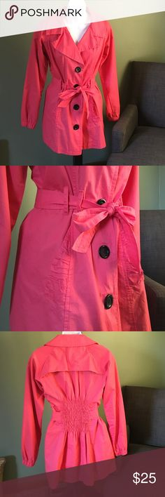Lola Coral Trench Coat S Lola Coral Trench Coat S. Like new condition...perfect for Spring! lola Jackets & Coats Trench Coats