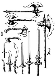 Anime Weapons, Fantasy Weapons, Fantasy Warrior, Knife Drawing, Sword Drawing, How To Draw Weapons, Dungeon Master's Guide, Armadura Medieval, Sword Design