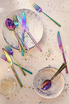 I REALLY need this Electroplated Flatware Set. It's Rainbow Holographic Utensils!