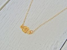 Tiny Hamsa Necklace, 14k Gold Filled, Sideways Hamsa Necklace, Hand Of Fatima, Side Hamsa, Karma Necklace, Protection Hand Necklace by NORRANA on Etsy