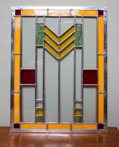An example of a Frank Lloyd wright inspired prairie style stained glass window. Lloyd Wright, Stained Glass Windows, Glass Panels, Custom Design, Inspired, Mirror, Studio, Inspiration, Home Decor