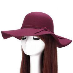 Chic Lace-Up adornadas Bright Color Felt Floppy Hat Para Mulheres - Digbest Brasil