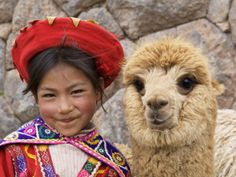 Peruvian child & alpaca