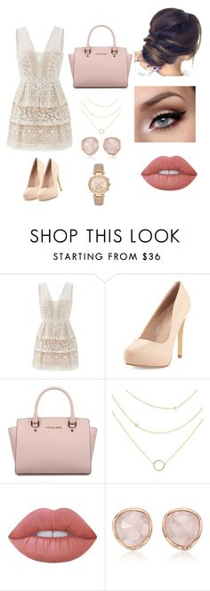 """""""Untitled #157"""" by rebeccaball37 on Polyvore featuring BCBGMAXAZRIA, Charles by Charles David, Michael Kors, Lime Crime and Monica Vinader"""