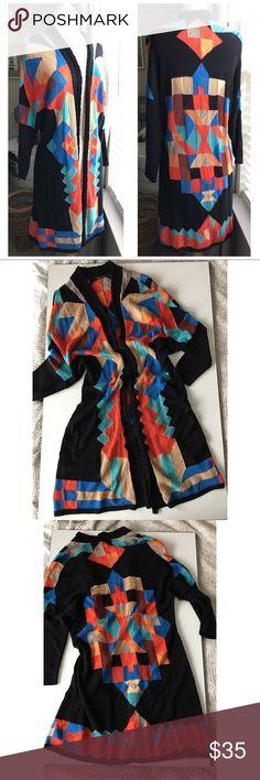 "NIC + ZOE Long black sweater geometric pattern, M NIC + ZOE Long black sweater geometric pattern, M Nic + Zoe long black sweater with color block pattern Size M  19"" pit to pit, 15.5"" waist, 36"" long  ¾ length sleeve NIC + ZOE Sweaters Cardigans"