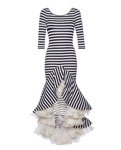 Striped maxi dress features a scoop neckline, three quarter sleeves, and a fitted bodice with a tiered / layered ruffled high low hem.Made in UK.