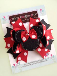 Minnie Mouse Bow - Classic red and black Minnie Mouse Bow - Darling Little Bow Shop by DarlingLittleBowShop on Etsy https://www.etsy.com/listing/128956971/minnie-mouse-bow-classic-red-and-black