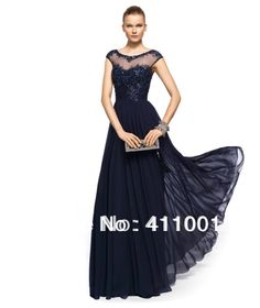 2014 New Arrival Navy Blue Chiffon Floor-length Evening Dress Prom Gown Appliqued&Beaded XS S M L XL XXL 3XL 4XL