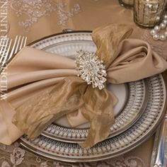 Ivory And Champagne With Brooch Napkin Ring ~ Absolutely Stunning!