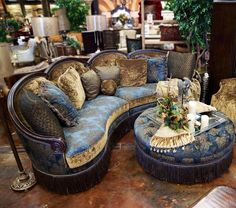 Sofa & Ottoman   ༺༻ Create an Exceptional Decorating Level with Beautiful Bathroom, Living Rooms, Pools, Kitchens and more.  IrvineHomeBlog.com