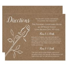 Brown Directions Rustic Rose Country Kraft Wedding Card - wedding invitations diy cyo special idea personalize card