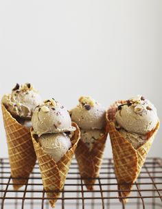 "caramelized banana & peanut butter ""ice cream"" with almond flour waffle cones"