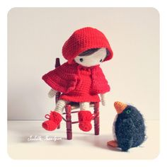 crocheted Little Red Riding Hood Doll (no pattern)