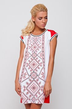 So stylish and contemporary, yet very traditional Ukrainian pattern of cross-stitch embroidery. 60% viscose 20% cotton 20% polyester Not a real embroidery. Made in Ukraine The model on a photo is 5' 7