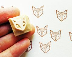 fox rubber stamp. hand carved stamp. baby fox stamp. animal face. card making. diy birthday. craft projects with children. small.